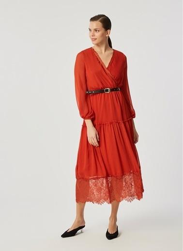 Monamoda Anvelop Kapama Eteği Dantelli Elbise Oranj